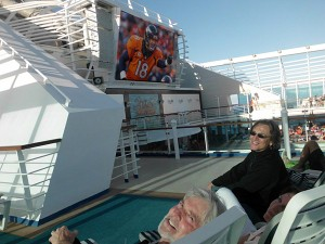 Watching NFL Playoffs on 2014 Cruise - Dick Cathy Tom